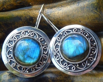 Labradorite Earrings, Round Labradorite, Silver Labradorite Earrings, Large Gemstone Earrings, Labradorite Cabochon, Blue Labradorite, 925