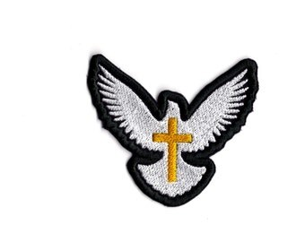 White Dove Christian Religious Patch Iron or Sew On Patch