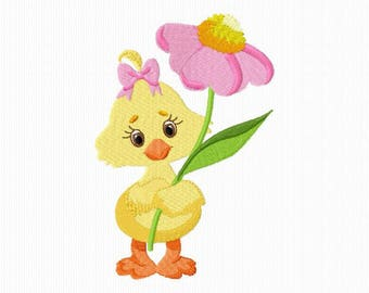 Embroidery of a chick with a flower for machine embroidery format 4 x 4 and 5 x 7