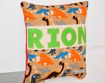 Dinosaur Cushion, Dinosaur Personalised Cushion, Personalised Cushion for Boys, Personalised Gift for Baby, Gift for Baby, Name Cushion Baby