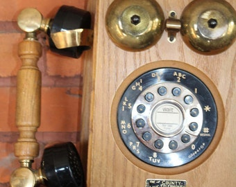 County Line Push Button Pulse/Tone  Oak Wall mountTelephone