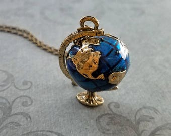 Globe Necklace Blue Globe Jewelry World Necklace Earth Necklace Travel Jewelry Travel Necklace Long Distance Relationship Charm Pendant Gift