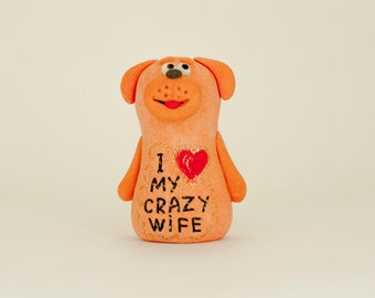 Valentines gift for her Anniversary gifts Wedding gift for wife Husband gift Personalized gift for women Custom text Dog Homemade figurine