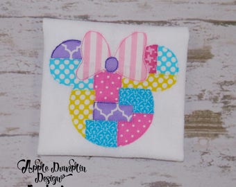 Minnie Mouse Head with Bow Patchwork Appliqué Embroidery Design, Girl, Birthday, Bow, Birthday Party, Girly, Monogram, 4x4, 5x7, 6x10, 9x9