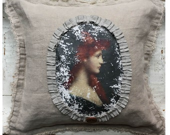 18th Century Redhead Woman Portrait Pillow. Cottage Style Pillow. Shabby Chic Style Pillow. Linen.