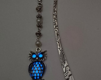 Blue Glowing Bookmark - Owl Glow In The Dark Bookmark - Gifts For Her - Teen Gift