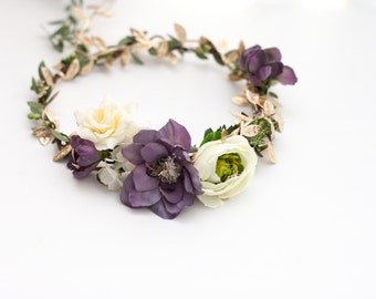 Enchanted Forest Flower Crown, Enchanted Forest Wedding, Enchanted Forest Baby, Purple Flower Halo, Purple Flower Crown, Forest Flower Crown