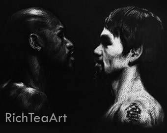 "Mayweather vs Pacquiao Charcoal Drawing - 12"" x 9"" MATTE PRINT"