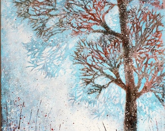Forest panel/original painting/wall art/tree/forest/countryside/bridget skanski-such/canvas/blue/branches/spatters/moon/rural/landscape