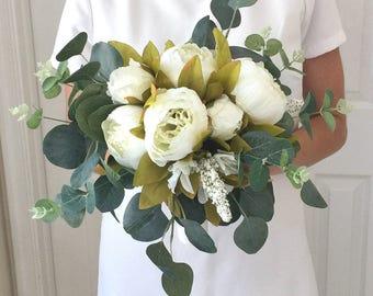 Cream Peony Bouquet, Cream Bouquet, Peony Wedding Bouquet, White Peony Bouquet, Eucalyptus Bouquet, Boho Bouquet, Bohemian Bouquet, Gre