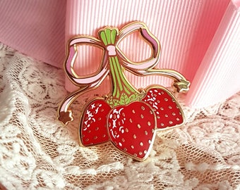 Sweet Strawberry Bunch Enamel Pin - Lolita Kawaii Fruit Fashion