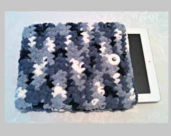 Chenille 10 Inch Tablet iPad Cover with Vintage Button, Hand Crocheted Tablet Sleeve, Blue, #FB-B14-1, Washable, Free Domestic Shipping