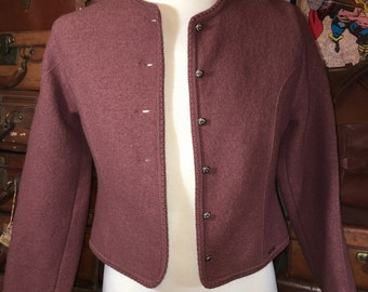 Vintage Geiger Jacket Purple Brown Boiled Wool Sweater Cardigan Women's L 42--Made in Austria