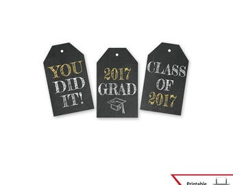 Printable Graduation Gift Tags, Class of 2017, High School, College Party Favor, Wish Tree, Decoration, Chalkboard Style, Instant Download