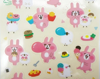 Japanese Piske & Usagi stickers by Kanahei! Kawaii snack stickers, mochi dessert planner stickers, Cute bunny and chick, doughnut stickers