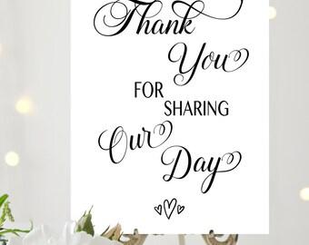 Thank you Wedding Printable, Thank You Wedding Sign, Wedding Print, Thank You Signage, Wedding Decor, Digital Wedding Sign, Thank You Print