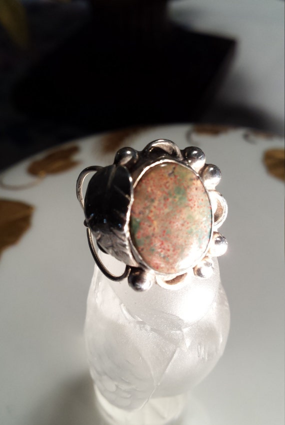Sterling silver vintage fire agate ring