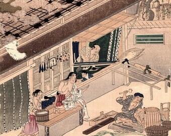 "1923, Japanese vintage Woodblock print, antique, Tosa Mitsuoki, ""Mat Maker"""