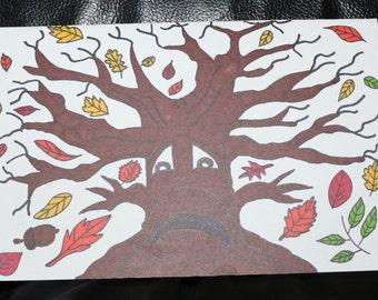 Autumn/Fall Tree Handpainted Greeting Card