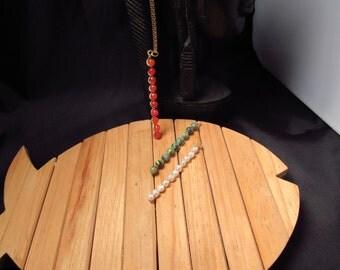 Wire Wrap Gemstone Stick Necklace,14k Gold filled Chain