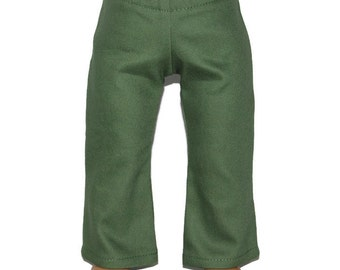 """Olive Green Stretch Denim Pants Jeans - Doll Clothes fits 18"""" American Girl Dolls"""