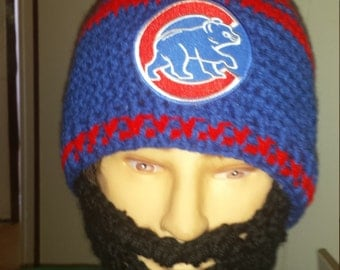Chicago Cubs Bearded Beanie, Cubs Baseball Beanie, Velcro Both sides Beard & Beanie 4 Perfect Fit Customize Cubs Embroidered Patch, 5 Pics