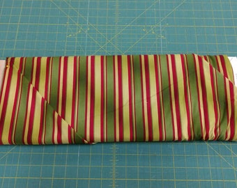 Flower Mart fabric. Green red stripe border lines quilters cotton quilting Benartex 1416