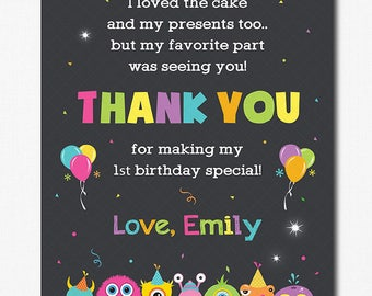 Monster Thank you card, Monster Thank you note, Monster Birthday, Monster party, printable