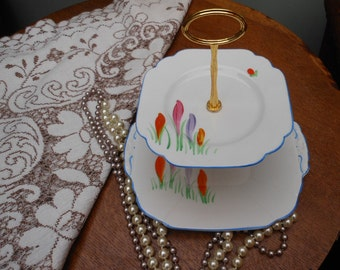 DECO CAKE STAND - 2 tier - Clarice Cliff style - Crocus pattern - Afternoon tea - China cake stand - Gift for her - Wedding Gift - 1930's