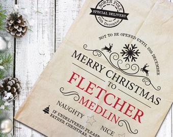 Christmas sacks, santa sacks, santa bags, kids sacks, personalised santa, Custom sacks, present sack, sack, personalised sacks, custom bag