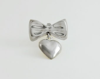Taxco Sterling Pendant - Sterling Bow Brooch - Mexican Silver Brooch - Bow and Heart Pendant - Vintage Heart Pendant/Brooch