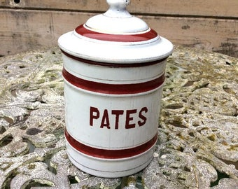 Old Vintage French Enamel Pates Canister Pot with its lid.White & Red c1950 Kitchenalia.