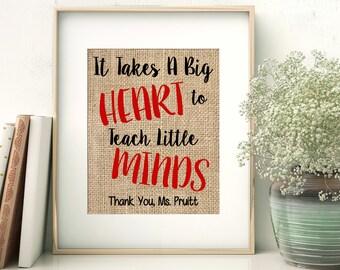 Teacher Gift, Appreciation Gift, Personalized Teacher Gift, Teacher Appreciation, Teacher Gift, Last Name Teacher, Burlap Print