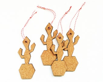 4 Cactus ornaments, Cork christmas ornaments, Cactus decoration, Cork ornaments, Modern Christmas tree decoration, Xmas, Holiday, Set of 4