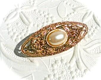 Vintage Gold Brooch Pearl Pin Jewelry Accessories VA-131