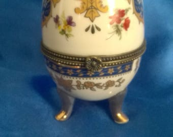 Limoges Pottery Egg Trinket Box Hand Painted