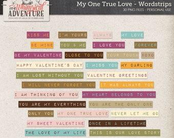 Valentine digital scrapbooking, digital download scrapbook elements, printable dymo tape word strips, word art, words, art journaling, cards
