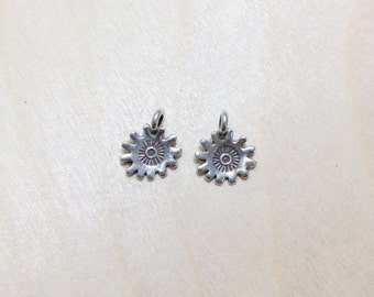 Stamp sterling silver oxidized charm 2 pc // S*18