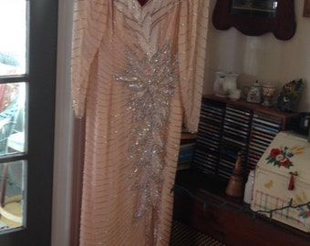 Stunning peach color flapper style wedding dress and vail with sequins, bugle beads and pearls