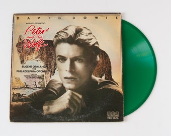 """DAVID BOWIE Narrates Prokofiev's """"Peter and the Wolf"""" Original Release GREEN Vinyl Lp Record (1978, Red Seal Rca ARL1-2743)"""