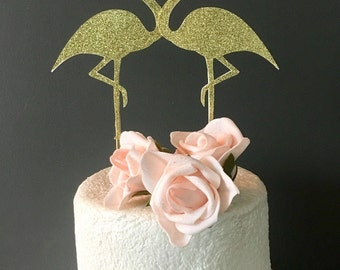 Flamingo Cake toppers - wedding cake topper - bridal shower cake topper