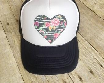 Navy Floral Heart Trucker
