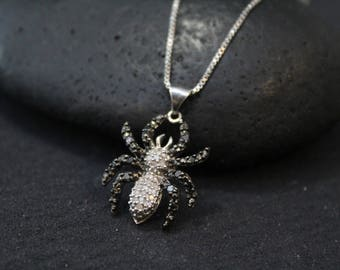 Sterling Silver Pave Diamond Spider Necklace, Spider Jewelry, Sterling Silver Spider Pendant, Diamond Spider Necklace