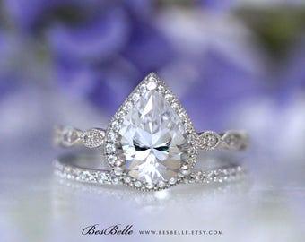 3.25 ct.tw Art Deco Bridal Set Ring-Pear Cut Diamond Simulant-Engagement Ring W/ All or Half Eternity Wedding Band-Sterling Silver [65362-2]