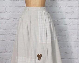 Vintage 80s Skirt Dirndl Trachten Bavarian German Country Hippie Folk UK 10...US 6