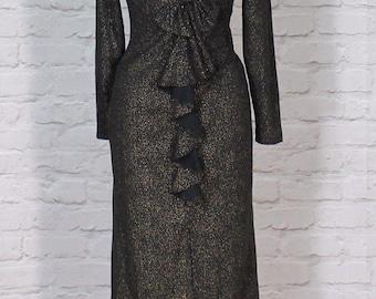 Vintage Dress Gown 80s Retro Evening Wedding Party Elegant UK 10/12...US 6/8