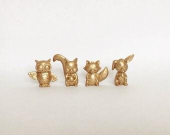 Gold, Silver Metallic Woodland Creatures Animals - Birthday - Wedding - Shower - Nursery - Decor - Party Decor - Party Favors