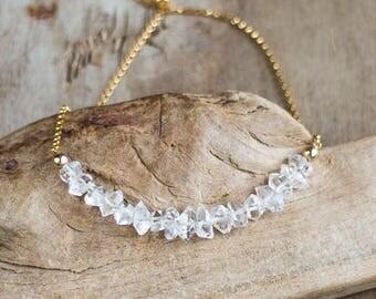 Herkimer Diamond Necklace, April Birthstone, Herkimer Crystal Jewelry, Herkimer Row Necklace, Sparkling Gemstone Necklace, Bridal Jewellery