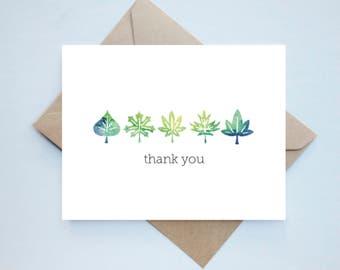 Watercolor Thanks Set - 10 // Handmade Thank You Card Set - Boxed Set - Watercolor Zen Card - Thanks Card - Unique Card