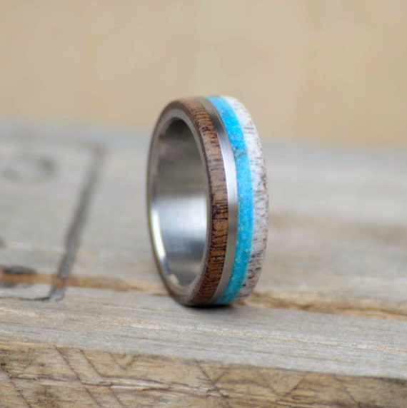 Mens Wedding Band Elk Antler Walnut Turquoise Metal Band